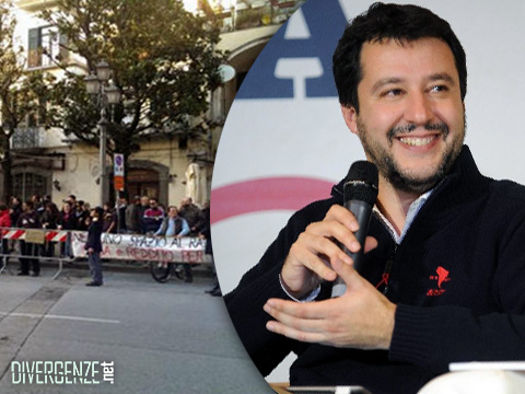 SALERNO: contestazioni e applausi a Salvini